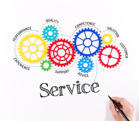 Business Gears and Service Mechanism Stock Photo