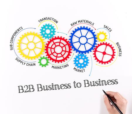 b2b: B2B Business to Mecanismo de negocios Foto de archivo