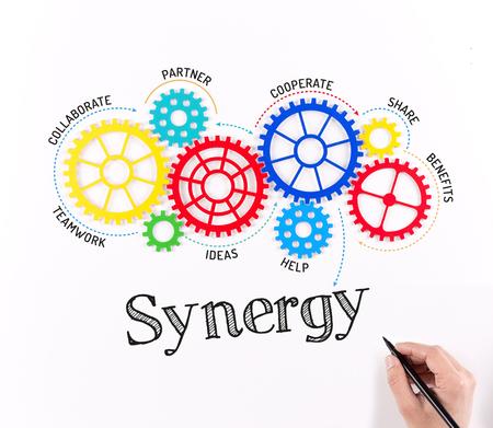 Engranajes de negocios y Mecanismo de Sinergia Foto de archivo