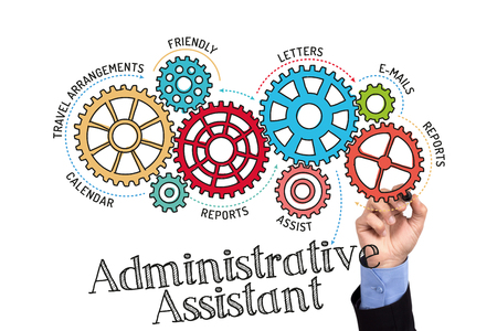 courteous: Gears and Administrative Assistant Mechanism on Whiteboard Stock Photo