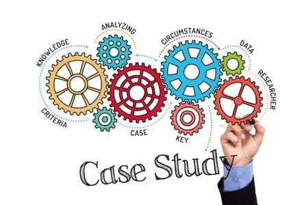evidence based: Gears and Case Study Mechanism on Whiteboard Stock Photo
