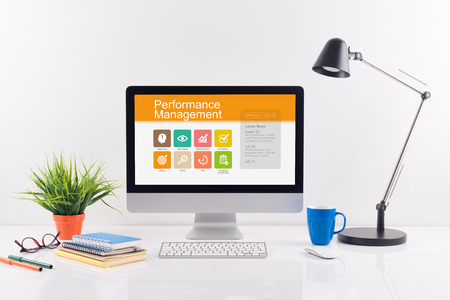 Performance Management screen on the workplace Stock Photo