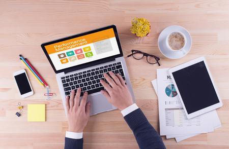 Business desk concept - Performance Management Stock Photo