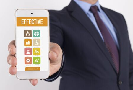 optimal: Man showing smartphone Effective on screen Stock Photo