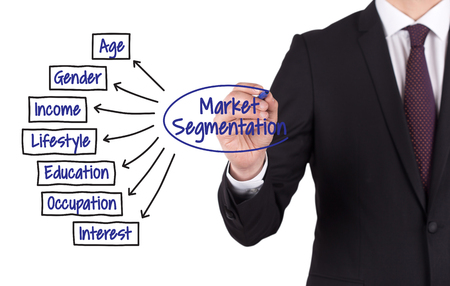 segmentation: MARKET SEGMENTATION diagram hand drawn on white board