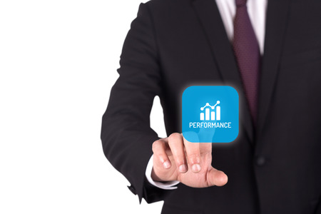 intervenes: Hand pushing PERFORMANCE button on interface touch screen