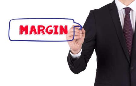 margen: MARGEN diagrama dibujado a mano en la tarjeta blanca Foto de archivo