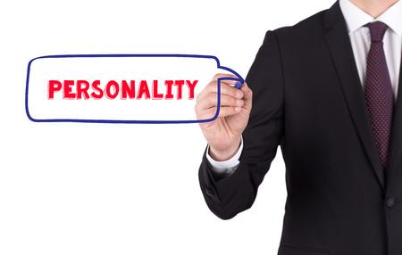 personalidad: Mano que escribe una personalidad palabra en la tarjeta blanca Foto de archivo