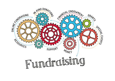 Gears und Fundraising-Mechanismus Vektorgrafik