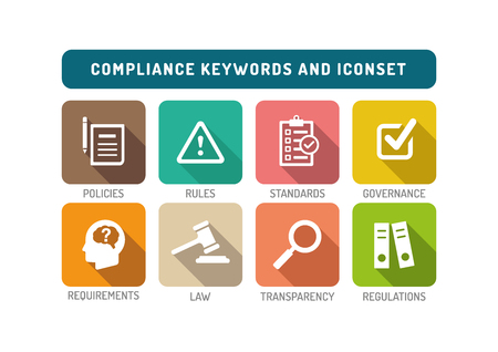 compliant: Compliance Flat Icon Set Illustration