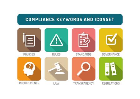Compliance piatto Icon Set Vettoriali