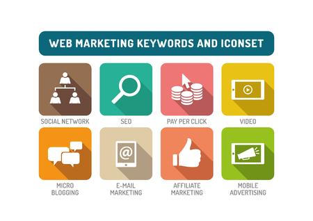 web marketing: Web Marketing Flat Icon Set Illustration