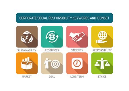 long term goal: Corporate Social Responsibility Flat Icon Set Illustration