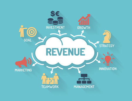 Revenue - Chart with keywords and icons - Flat Design
