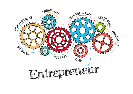 originality: Gears and Entrepreneur Mechanism Illustration
