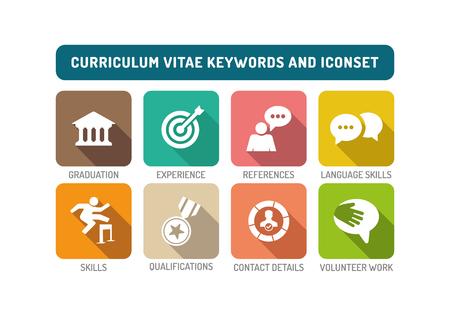 contact details: Curriculum Vitae Flat Icon Set