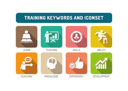 Training Flat Icon Set Stockfoto - 57636989