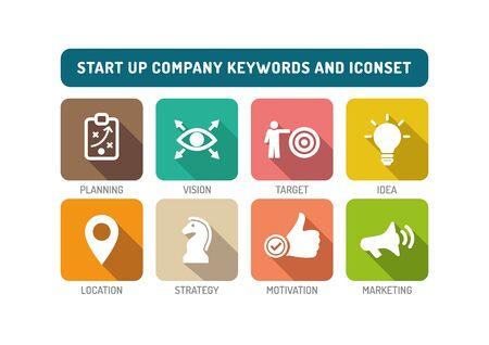 undertake: Start up Company Flat Icon Set Illustration
