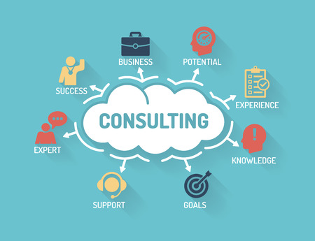 accounting design: Consulting - Chart with keywords and icons - Flat Design