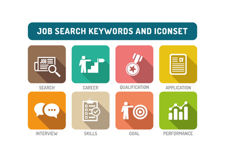Job Search Flat Icon Set Stock Illustratie