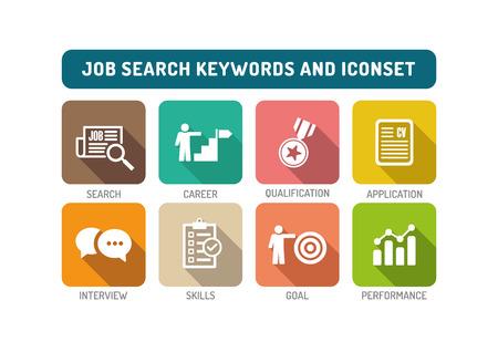 Job Search Flat Icon Set Illustration