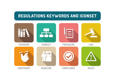 regulations: Regulations Flat Icon Set Illustration
