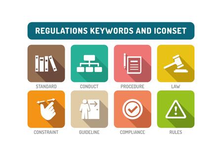 guidelines: Regulations Flat Icon Set Illustration