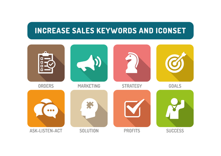 increase sales: Increase Sales Flat Icon Set