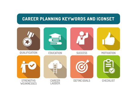 strengths: Career Planning Flat Icon Set