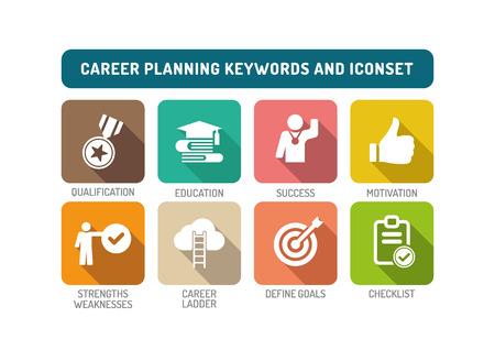 Planification de carrière Flat Icon Set