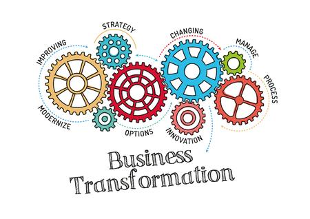 Gears und Business Transformation Mechanismus Vektorgrafik
