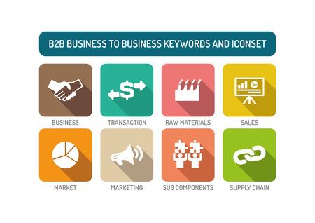 b2b: B2B Business to Business Flat Icon Set Illustration