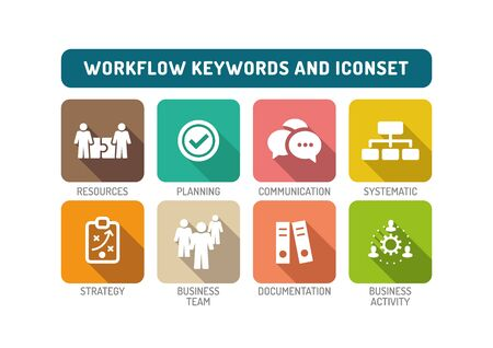 workflow: Workflow Flat Icon Set Illustration