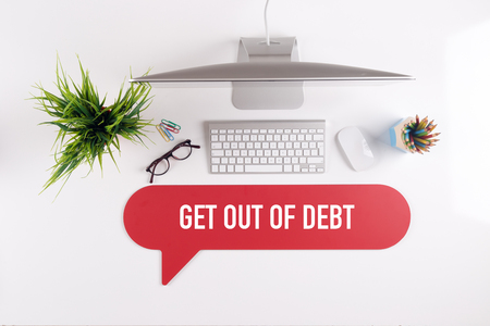 trouble free: GET OUT OF DEBT Search Find Web Online Technology Internet Website Concept Stock Photo