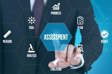 assessment system: ASSESSMENT TECHNOLOGY COMMUNICATION TOUCHSCREEN FUTURISTIC CONCEPT Stock Photo