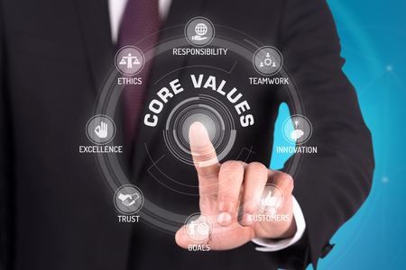 CORE VALUES TECHNOLOGY COMMUNICATION TOUCHSCREEN FUTURISTIC CONCEPT Stock Photo