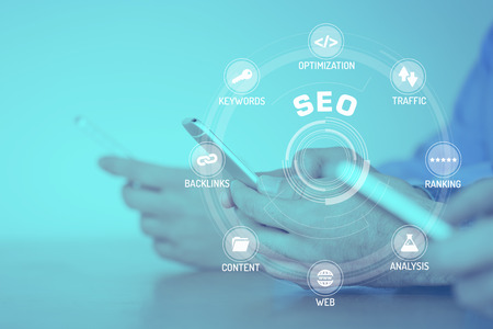 keywords: SEO CONCEPT with Icons and Keywords Stock Photo