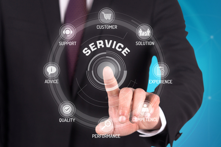 TECNOLOGÍA DE SERVICIO DE COMUNICACIÓN DE LA PANTALLA TÁCTIL CONCEPTO FUTURISTA