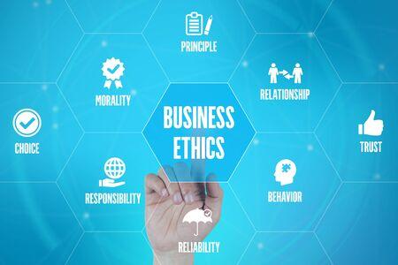 BUSINESS ETHICS TECHNOLOGY COMMUNICATION TOUCHSCREEN FUTURISTIC CONCEPT Stock Photo