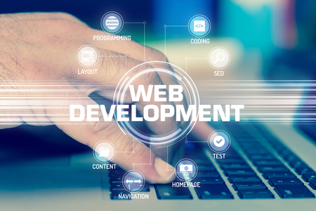 WEB DEVELOPMENT TECHNOLOGY COMMUNICATION TOUCHSCREEN FUTURISTIC CONCEPT Stock Photo