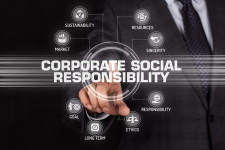 CORPORATE SOCIAL RESPONSIBILITY TECHNOLOGIE KOMMUNIKATION BILDSCHIRM- futuristisches Konzept