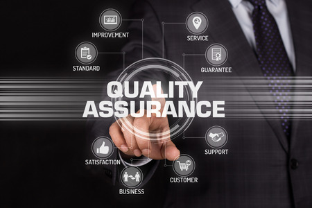business security: QUALITY ASSURANCE TECHNOLOGY COMMUNICATION TOUCHSCREEN FUTURISTIC CONCEPT Stock Photo