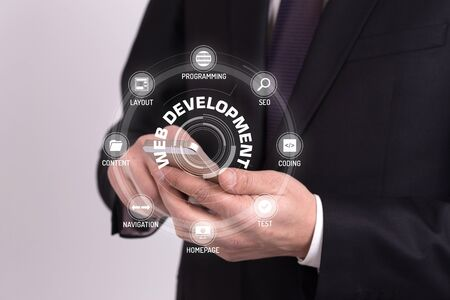 xhtml: WEB DEVELOPMENT CONCEPT with Icons and Keywords Stock Photo