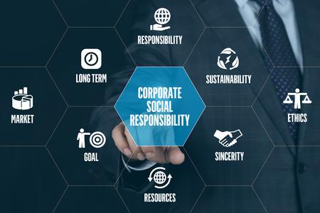 기업의 사회적 책임의 과학 기술 통신 터치 스크린 미래의 개념