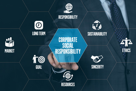CORPORATE SOCIAL RESPONSIBILITY TECHNOLOGY COMMUNICATION TOUCHSCREEN FUTURISTIC CONCEPT Stock Photo - 57624557