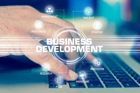 DÉVELOPPEMENT DES AFFAIRES TECHNOLOGIE COMMUNICATION TOUCHSCREEN FUTURISTIC CONCEPT Banque d'images
