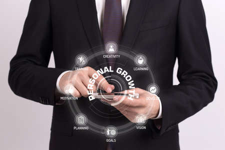 crecimiento personal: CONCEPTO DE CRECIMIENTO PERSONAL con los iconos y las palabras clave