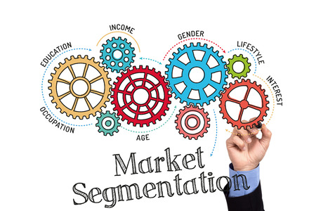 categorize: Gears and Market Segmentation Mechanism on Whiteboard Stock Photo