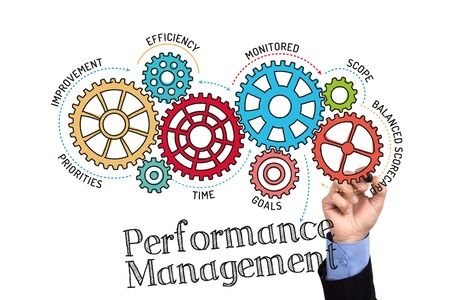communicated: Gears and Performance Management Mechanism on Whiteboard Stock Photo