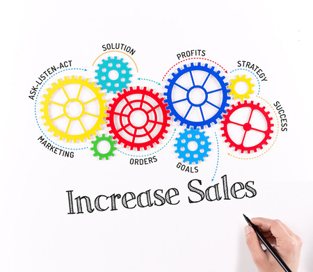 business gears: Business Gears and Increase Sales Mechanism Stock Photo